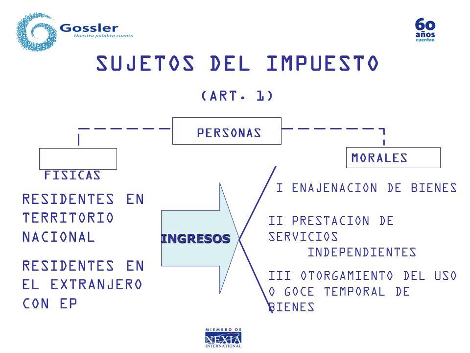 SUJETOS DEL IMPUESTO (ART. 1) FISICAS MORALES PERSONAS INGRESOS RESIDENTES EN TERRITORIO NACIONAL I ENAJENACION DE BIENES II PRESTACION DE SERVICIOS I