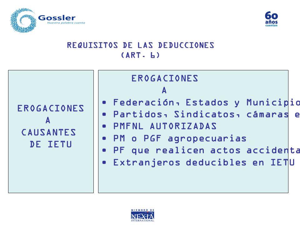 REQUISITOS DE LAS DEDUCCIONES (ART. 6) EROGACIONES A CAUSANTES DE IETU EROGACIONES A Federación, Estados y Municipios Partidos, Sindicatos, cámaras et