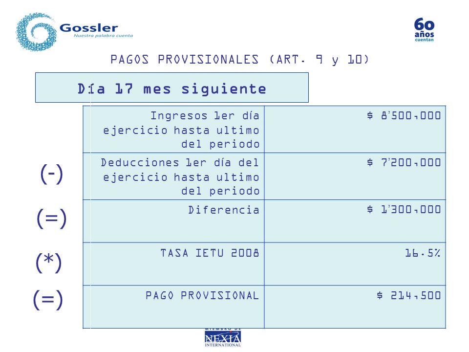 PAGOS PROVISIONALES (ART. 9 y 10) Ingresos 1er día ejercicio hasta ultimo del periodo $ 8500,000 Deducciones 1er día del ejercicio hasta ultimo del pe
