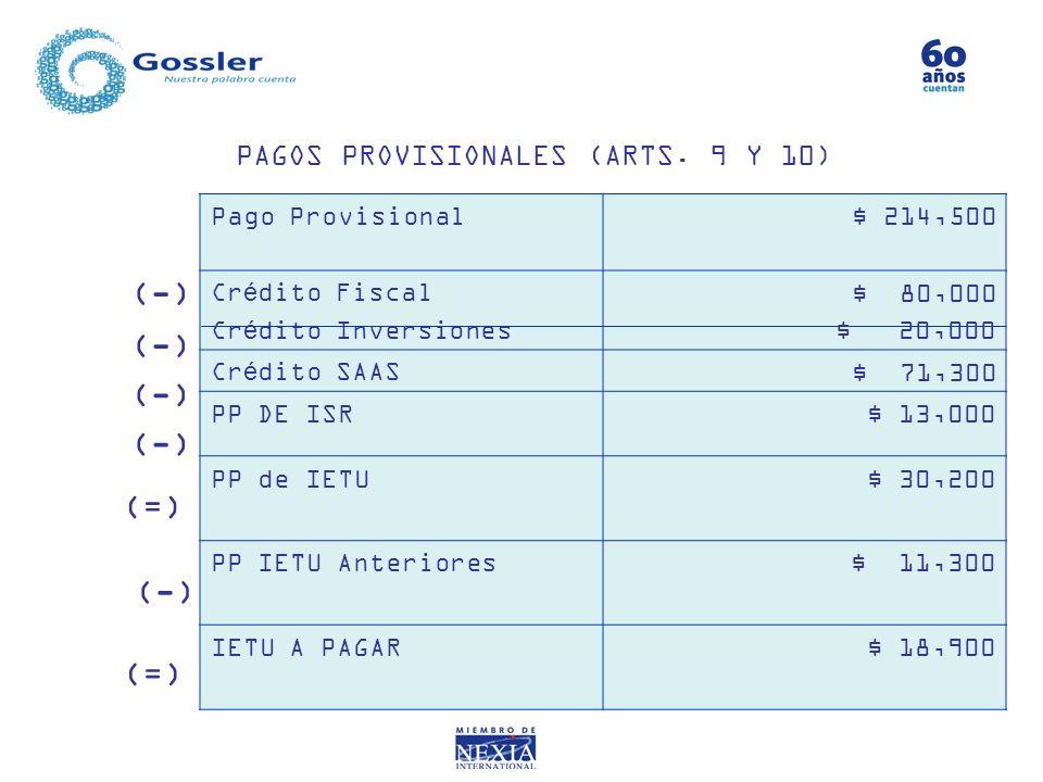 PAGOS PROVISIONALES (ARTS. 9 Y 10) Pago Provisional $ 214,500 Crédito Fiscal Crédito Inversiones $ 80,000 $ 20,000 Crédito SAAS $ 71,300 PP DE ISR $ 1