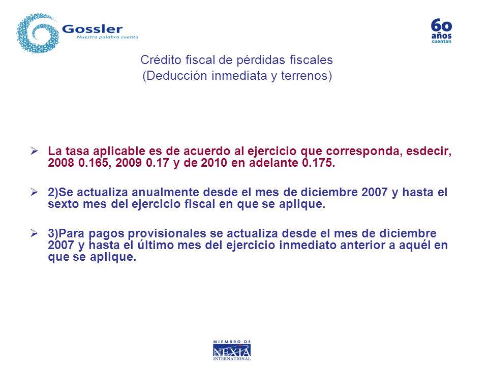 La tasa aplicable es de acuerdo al ejercicio que corresponda, esdecir, 2008 0.165, 2009 0.17 y de 2010 en adelante 0.175. 2)Se actualiza anualmente de