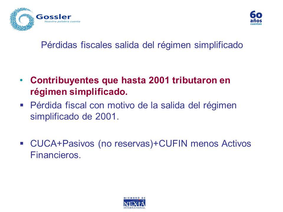 Pérdidas fiscales salida del régimen simplificado Contribuyentes que hasta 2001 tributaron en régimen simplificado. Pérdida fiscal con motivo de la sa