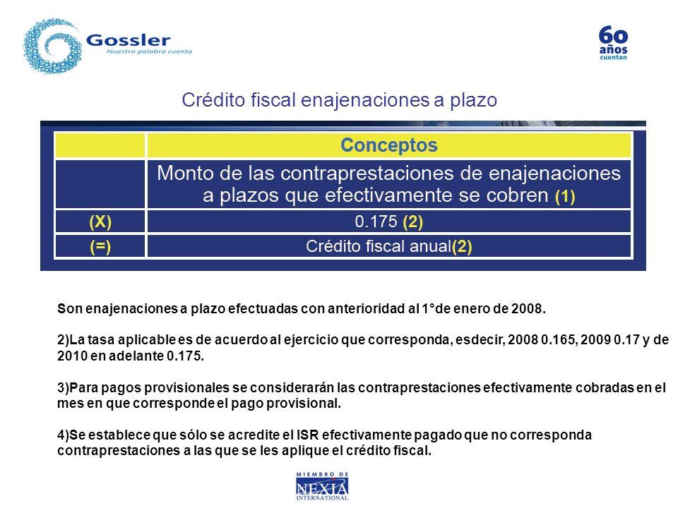 Crédito fiscal enajenaciones a plazo Son enajenaciones a plazo efectuadas con anterioridad al 1°de enero de 2008. 2)La tasa aplicable es de acuerdo al