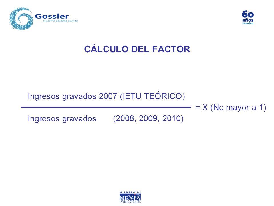 CÁLCULO DEL FACTOR Ingresos gravados 2007 (IETU TEÓRICO) = X (No mayor a 1) Ingresos gravados (2008, 2009, 2010)