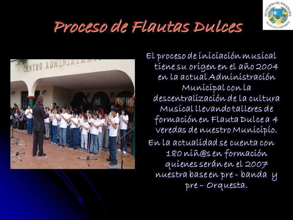 El proceso de iniciación musical tiene su origen en el año 2004 en la actual Administración Municipal con la descentralización de la cultura Musical l
