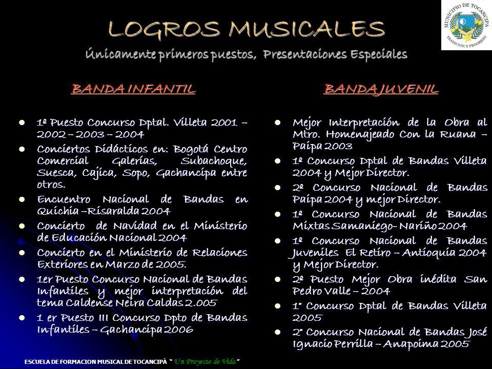 LOGROS MUSICALES Únicamente primeros puestos, Presentaciones Especiales BANDA INFANTIL 1º Puesto Concurso Dptal. Villeta 2001 – 2002 – 2003 – 2004 1º