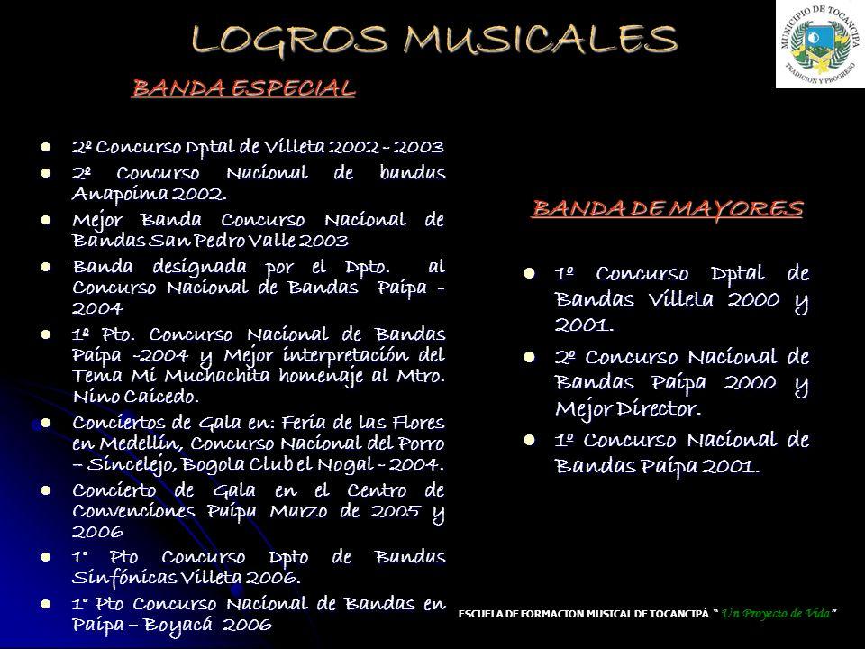 LOGROS MUSICALES BANDA DE MAYORES 1º Concurso Dptal de Bandas Villeta 2000 y 2001. 1º Concurso Dptal de Bandas Villeta 2000 y 2001. 2º Concurso Nacion