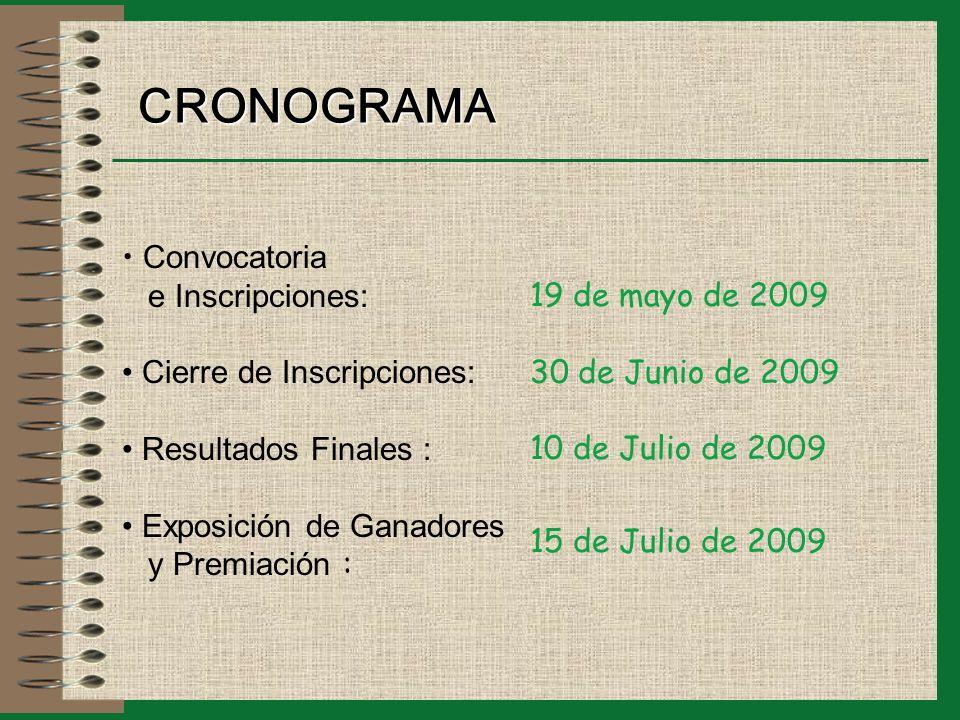 CRONOGRAMA Convocatoria e Inscripciones: Cierre de Inscripciones: Resultados Finales : Exposición de Ganadores y Premiación : 19 de mayo de 2009 30 de Junio de 2009 10 de Julio de 2009 15 de Julio de 2009