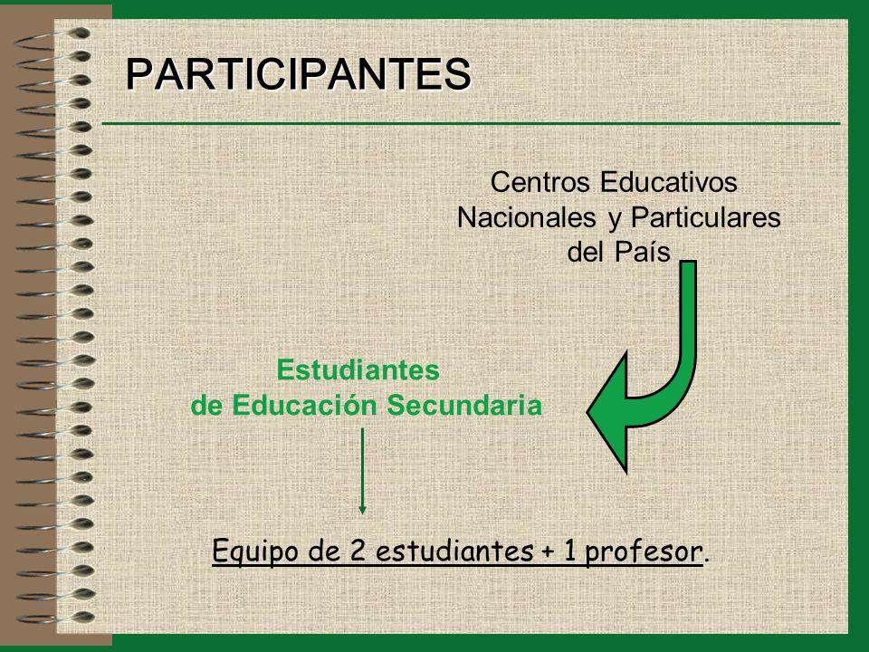 PARTICIPANTES Estudiantes de Educación Secundaria Centros Educativos Nacionales y Particulares del País Equipo de 2 estudiantes + 1 profesor.