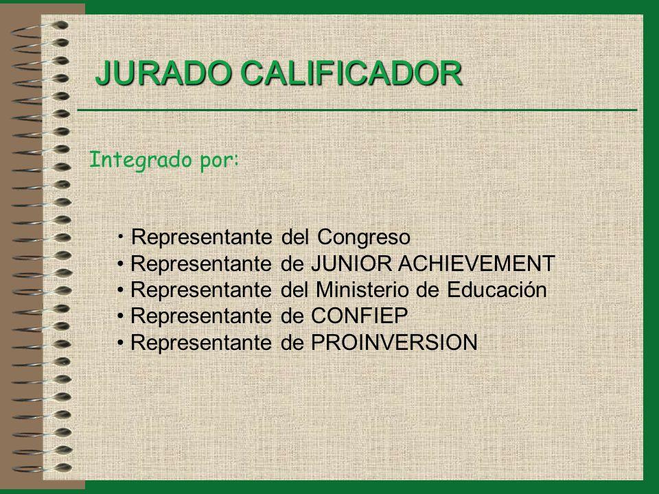 JURADO CALIFICADOR Integrado por: Representante del Congreso Representante de JUNIOR ACHIEVEMENT Representante del Ministerio de Educación Representante de CONFIEP Representante de PROINVERSION