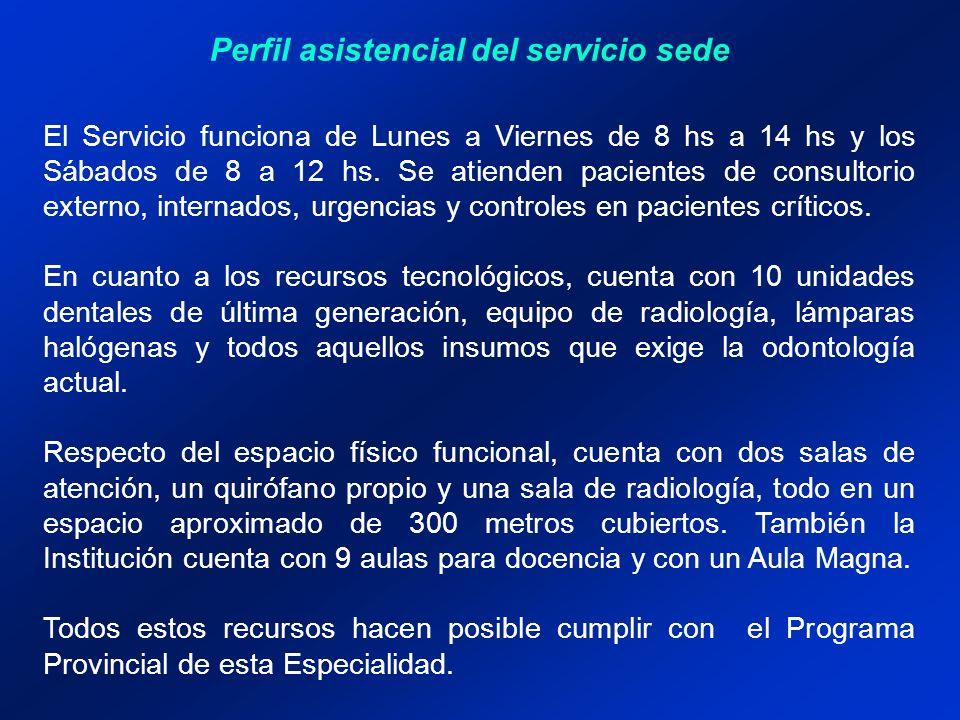 Perfil asistencial del servicio sede El Servicio funciona de Lunes a Viernes de 8 hs a 14 hs y los Sábados de 8 a 12 hs. Se atienden pacientes de cons