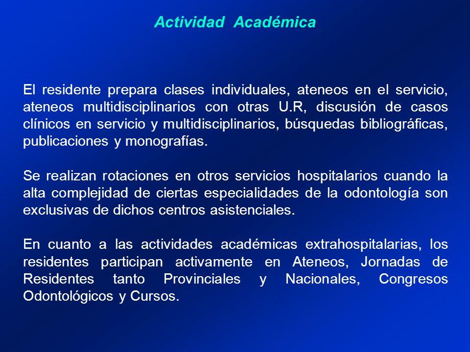 Actividad Académica El residente prepara clases individuales, ateneos en el servicio, ateneos multidisciplinarios con otras U.R, discusión de casos cl