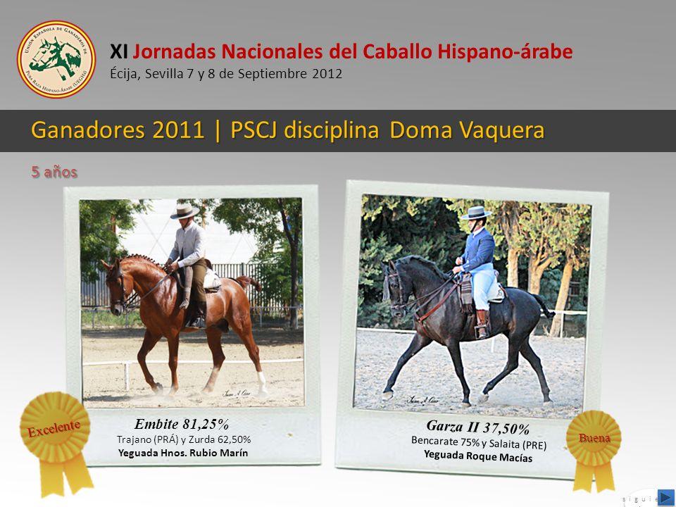 XI Jornadas Nacionales del Caballo Hispano-árabe Écija, Sevilla 7 y 8 de Septiembre 2012 Ganadores 2011 | PSCJ disciplina Doma Vaquera Garza II 37,50%