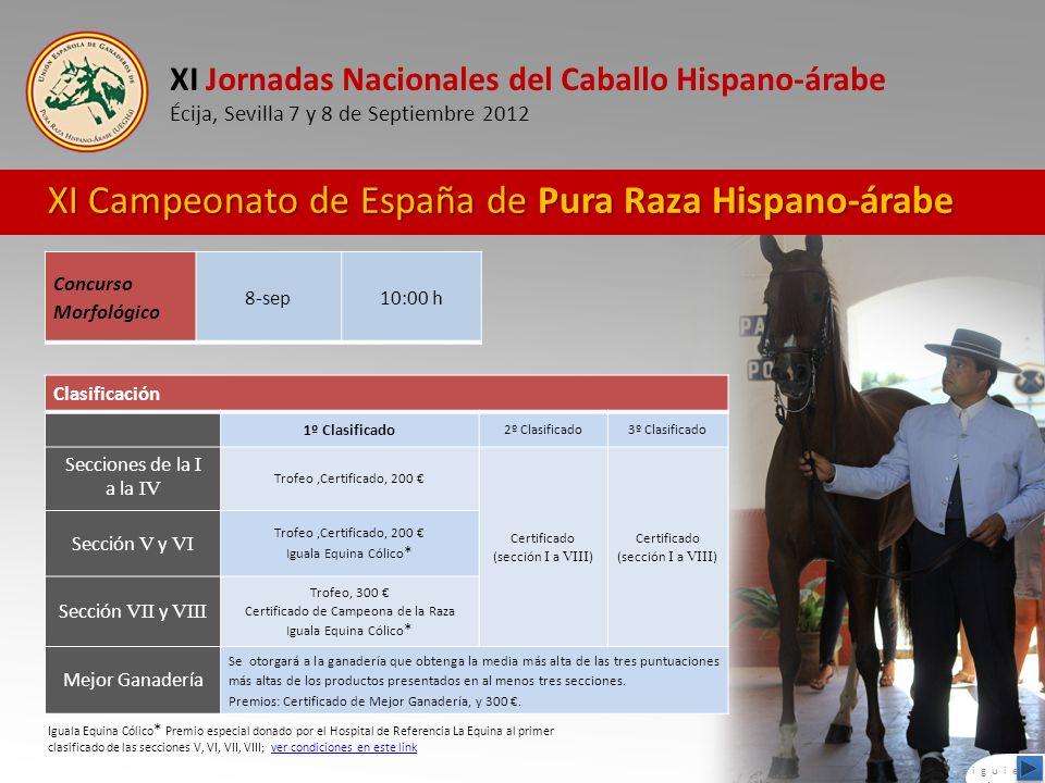 XI Jornadas Nacionales del Caballo Hispano-árabe Écija, Sevilla 7 y 8 de Septiembre 2012 XI Campeonato de España de Pura Raza Hispano-árabe Concurso M