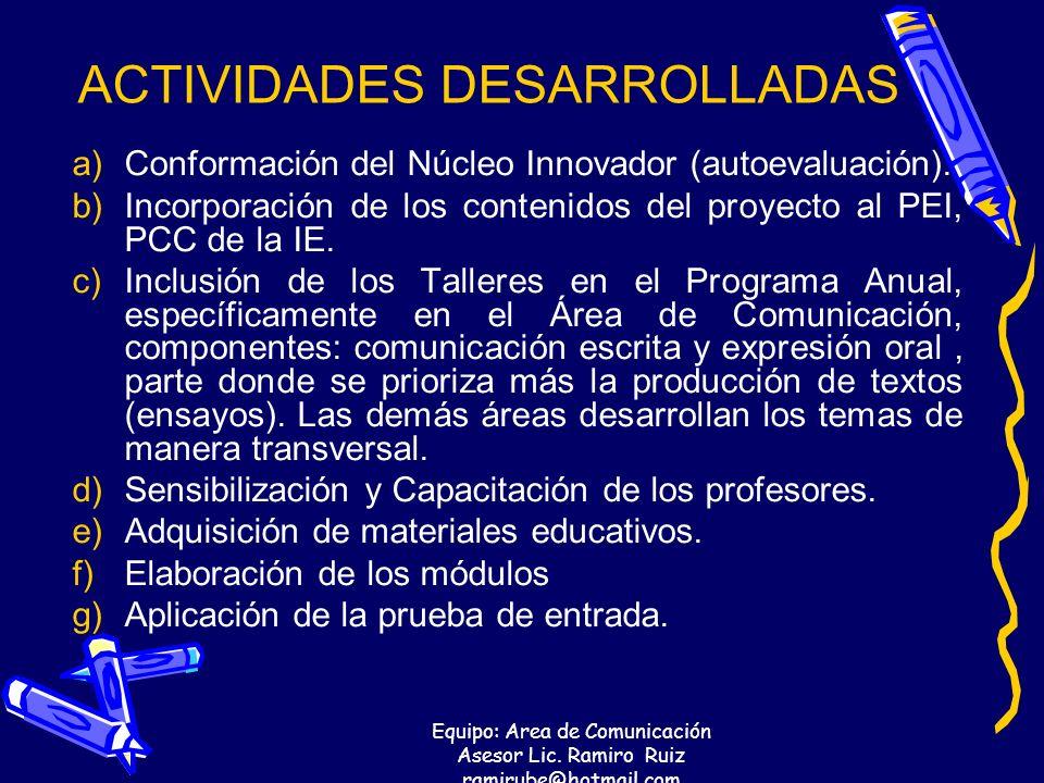 Equipo: Area de Comunicación Asesor Lic. Ramiro Ruiz ramirube@hotmail.com ACTIVIDADES DESARROLLADAS a)Conformación del Núcleo Innovador (autoevaluació