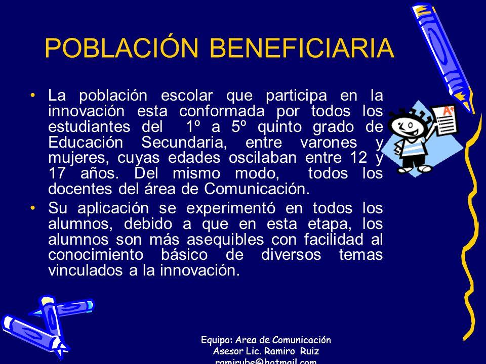 Equipo: Area de Comunicación Asesor Lic. Ramiro Ruiz ramirube@hotmail.com POBLACIÓN BENEFICIARIA La población escolar que participa en la innovación e