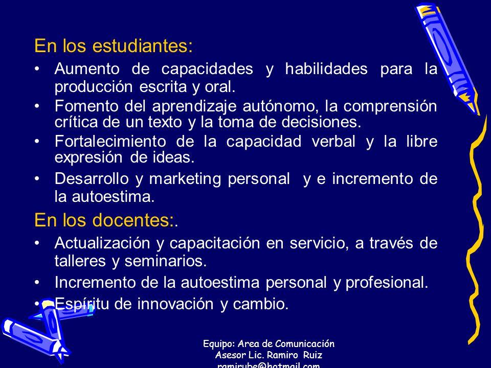 Equipo: Area de Comunicación Asesor Lic. Ramiro Ruiz ramirube@hotmail.com En los estudiantes: Aumento de capacidades y habilidades para la producción