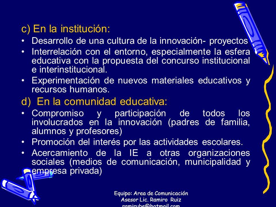 Equipo: Area de Comunicación Asesor Lic. Ramiro Ruiz ramirube@hotmail.com c) En la institución: Desarrollo de una cultura de la innovación- proyectos