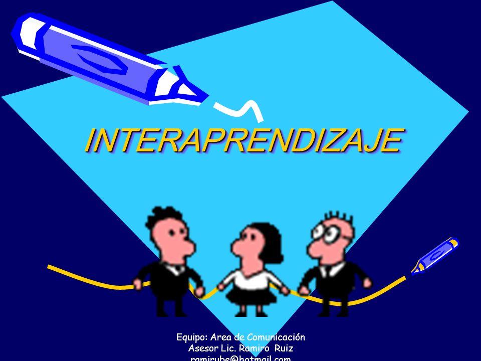 Equipo: Area de Comunicación Asesor Lic. Ramiro Ruiz ramirube@hotmail.com INTERAPRENDIZAJE INTERAPRENDIZAJE