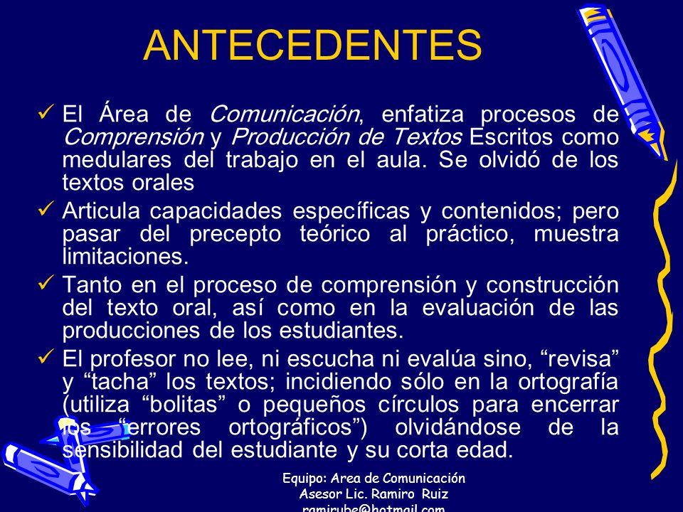 Equipo: Area de Comunicación Asesor Lic. Ramiro Ruiz ramirube@hotmail.com ANTECEDENTES El Área de Comunicación, enfatiza procesos de Comprensión y Pro
