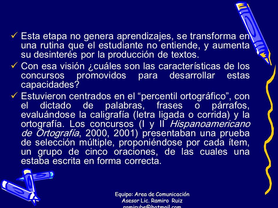 Equipo: Area de Comunicación Asesor Lic. Ramiro Ruiz ramirube@hotmail.com Esta etapa no genera aprendizajes, se transforma en una rutina que el estudi