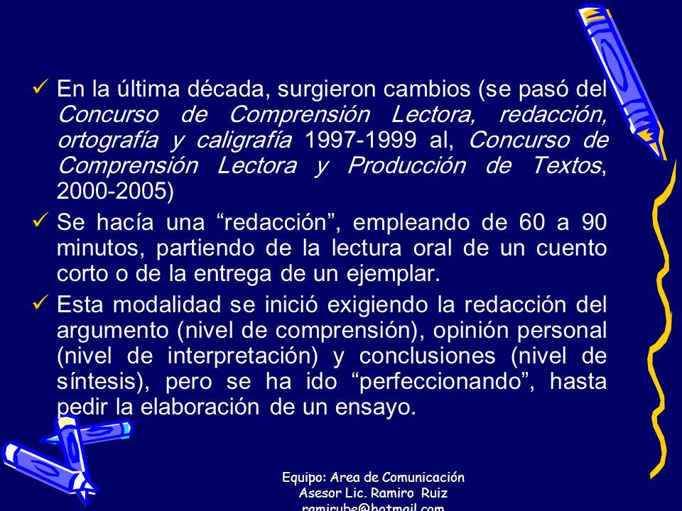 Equipo: Area de Comunicación Asesor Lic. Ramiro Ruiz ramirube@hotmail.com En la última década, surgieron cambios (se pasó del Concurso de Comprensión