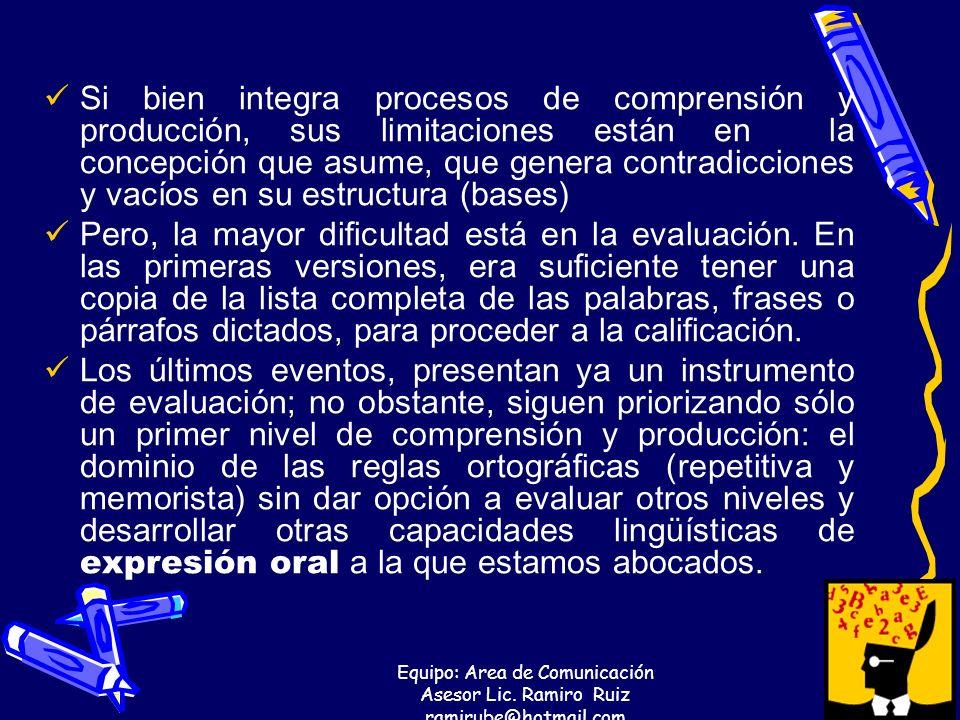 Equipo: Area de Comunicación Asesor Lic. Ramiro Ruiz ramirube@hotmail.com Si bien integra procesos de comprensión y producción, sus limitaciones están
