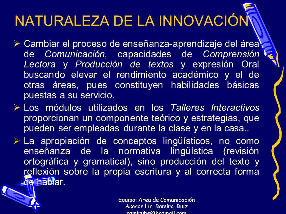 Equipo: Area de Comunicación Asesor Lic. Ramiro Ruiz ramirube@hotmail.com NATURALEZA DE LA INNOVACIÓN Cambiar el proceso de enseñanza-aprendizaje del