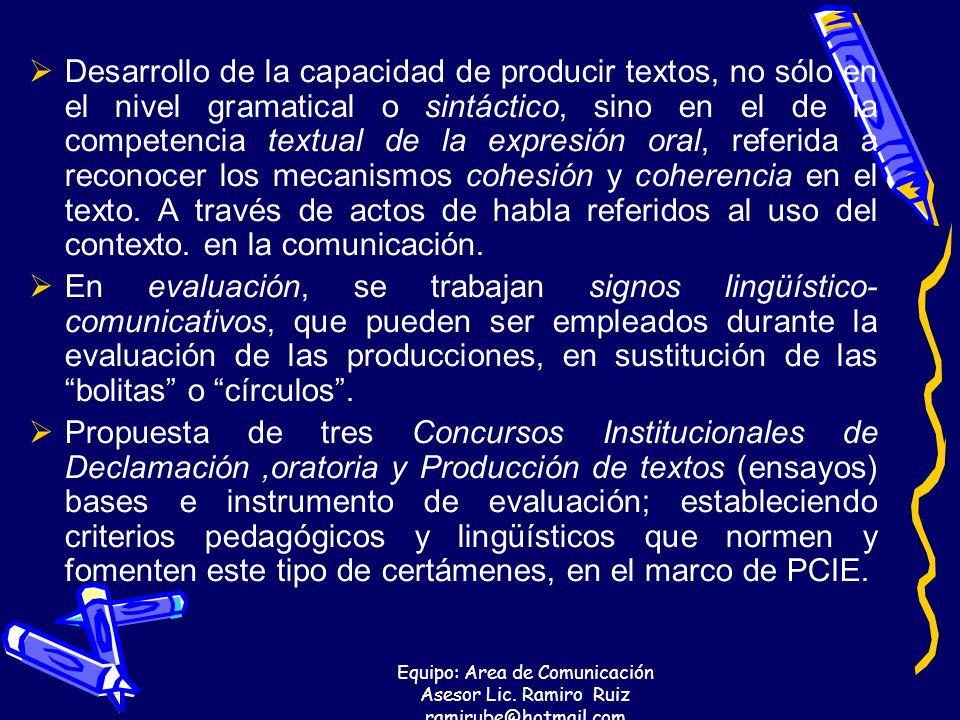Equipo: Area de Comunicación Asesor Lic. Ramiro Ruiz ramirube@hotmail.com Desarrollo de la capacidad de producir textos, no sólo en el nivel gramatica