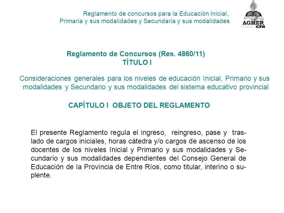 Reglamento de concursos para la Educación Inicial, Primaria y sus modalidades y Secundaria y sus modalidades Reglamento de Concursos (Res. 4860/11) TÍ