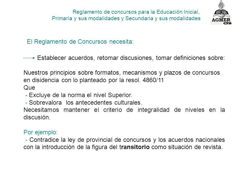 Reglamento de concursos para la Educación Inicial, Primaria y sus modalidades y Secundaria y sus modalidades Nuestros principios sobre formatos, mecan