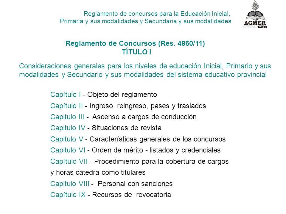 Reglamento de concursos para la Educación Inicial, Primaria y sus modalidades y Secundaria y sus modalidades Capítulo I - Objeto del reglamento Capítu