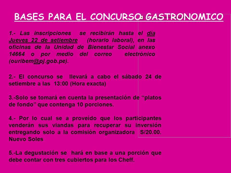 1.- Las inscripciones se recibirán hasta el día Jueves 22 de setiembre (horario laboral), en las oficinas de la Unidad de Bienestar Social anexo 14664