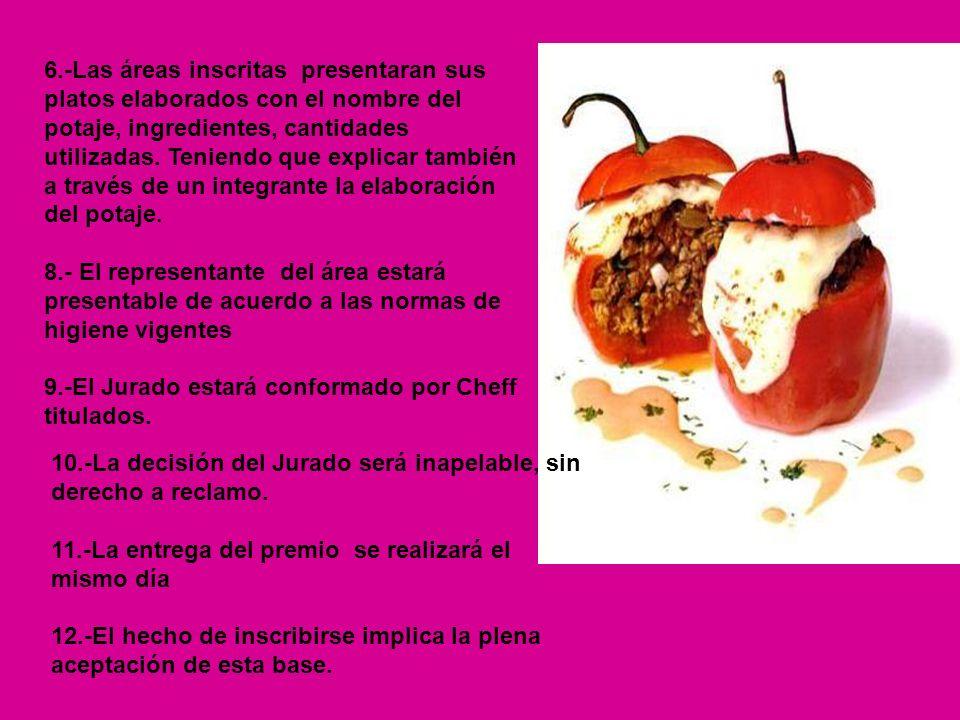 6.-Las áreas inscritas presentaran sus platos elaborados con el nombre del potaje, ingredientes, cantidades utilizadas. Teniendo que explicar también