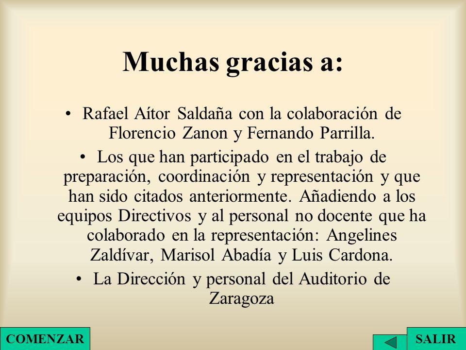 Muchas gracias a: Rafael Aítor Saldaña con la colaboración de Florencio Zanon y Fernando Parrilla. Los que han participado en el trabajo de preparació