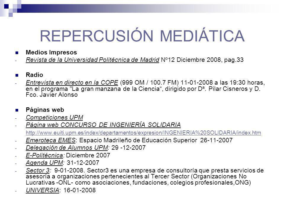 REPERCUSIÓN MEDIÁTICA Medios Impresos - Revista de la Universidad Politécnica de Madrid Nº12 Diciembre 2008, pag.33 Radio - Entrevista en directo en la COPE (999 OM / 100.7 FM) 11-01-2008 a las 19:30 horas, en el programa La gran manzana de la Ciencia, dirigido por Dª.