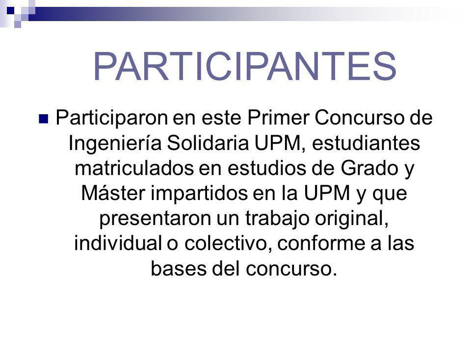 Participaron en este Primer Concurso de Ingeniería Solidaria UPM, estudiantes matriculados en estudios de Grado y Máster impartidos en la UPM y que presentaron un trabajo original, individual o colectivo, conforme a las bases del concurso.