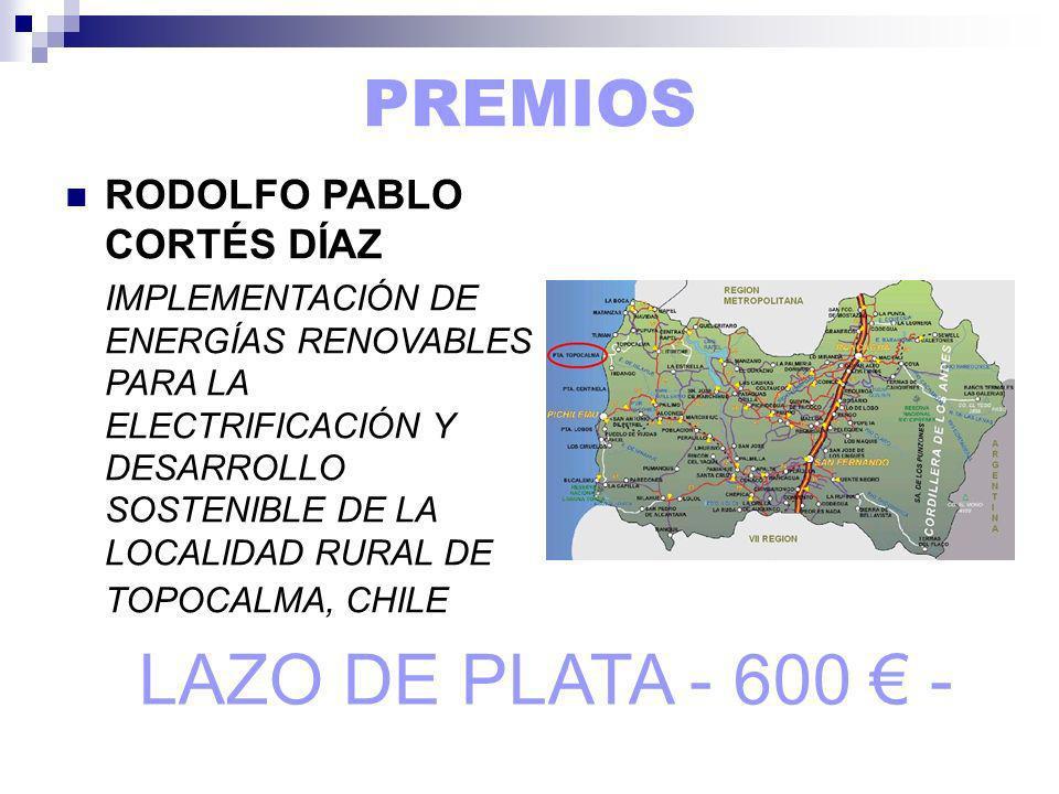 PREMIOS RODOLFO PABLO CORTÉS DÍAZ IMPLEMENTACIÓN DE ENERGÍAS RENOVABLES PARA LA ELECTRIFICACIÓN Y DESARROLLO SOSTENIBLE DE LA LOCALIDAD RURAL DE TOPOCALMA, CHILE LAZO DE PLATA - 600 -