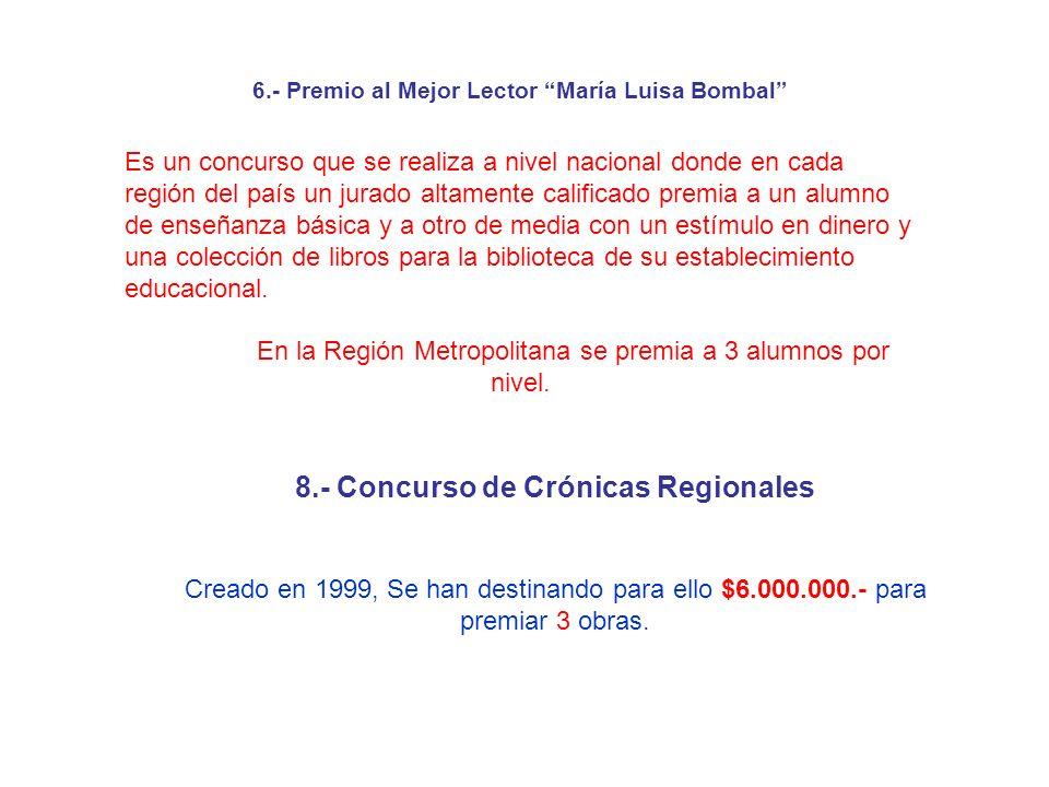 6.- Premio al Mejor Lector María Luisa Bombal Es un concurso que se realiza a nivel nacional donde en cada región del país un jurado altamente calificado premia a un alumno de enseñanza básica y a otro de media con un estímulo en dinero y una colección de libros para la biblioteca de su establecimiento educacional.