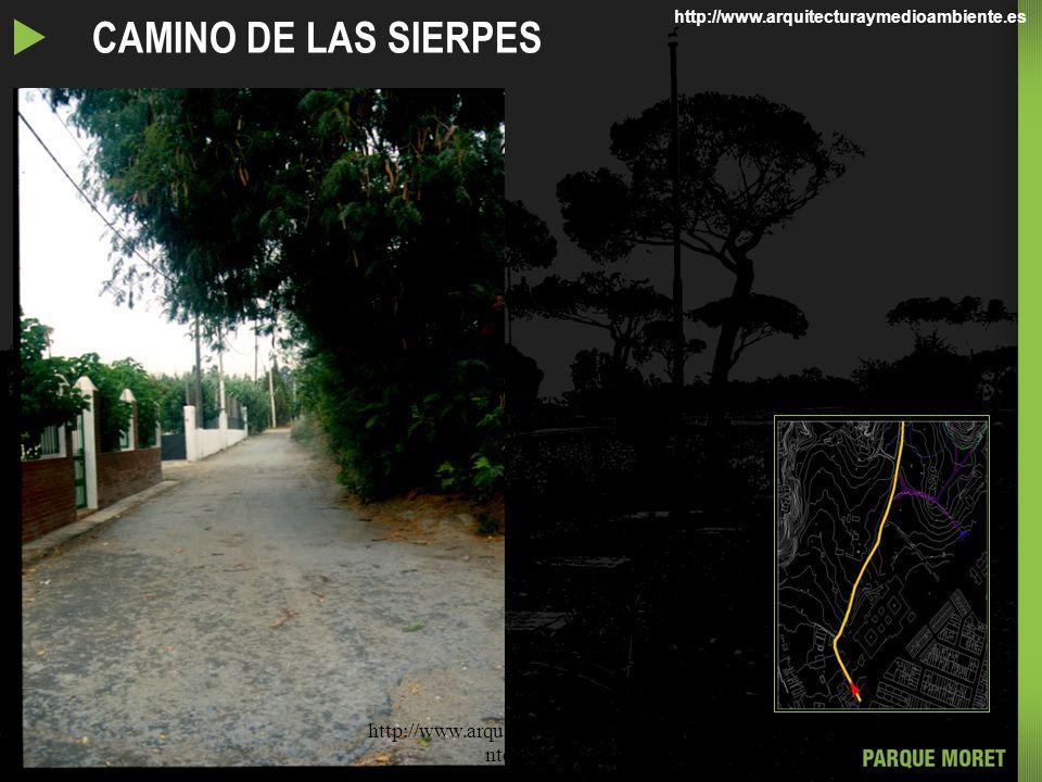 RECORRIDOS POR EL PARQUE MORET EL CAMINO DE LAS SIERPES http://www.arquitecturaymedioambie nte.com/ http://www.arquitecturaymedioambiente.es