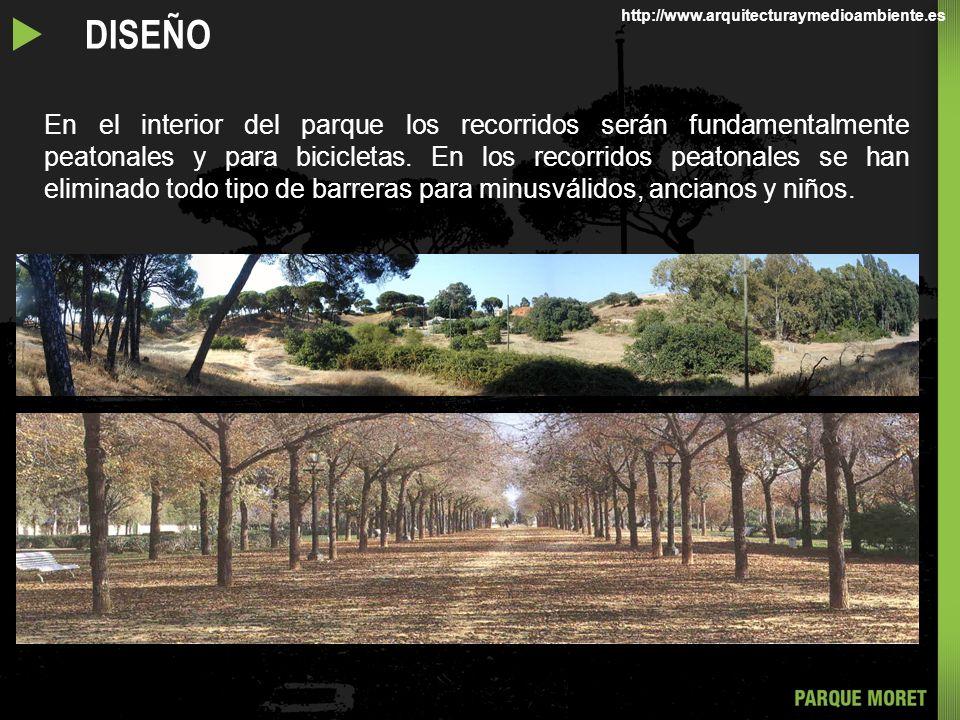 En el interior del parque los recorridos serán fundamentalmente peatonales y para bicicletas.