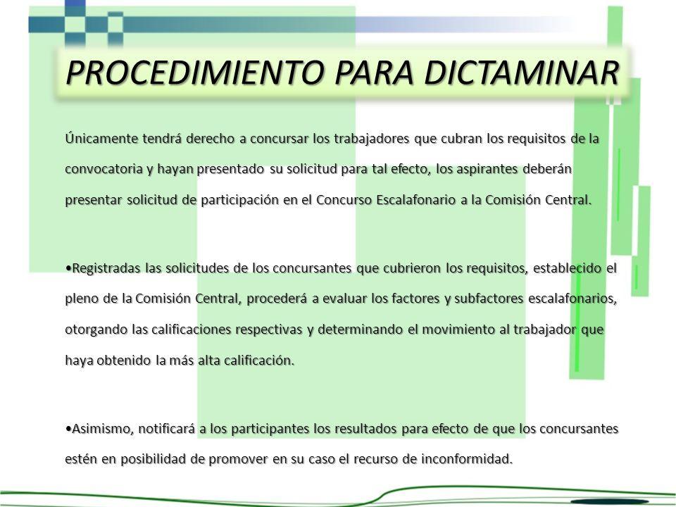 PROCEDIMIENTO PARA DICTAMINAR Únicamente tendrá derecho a concursar los trabajadores que cubran los requisitos de la convocatoria y hayan presentado s