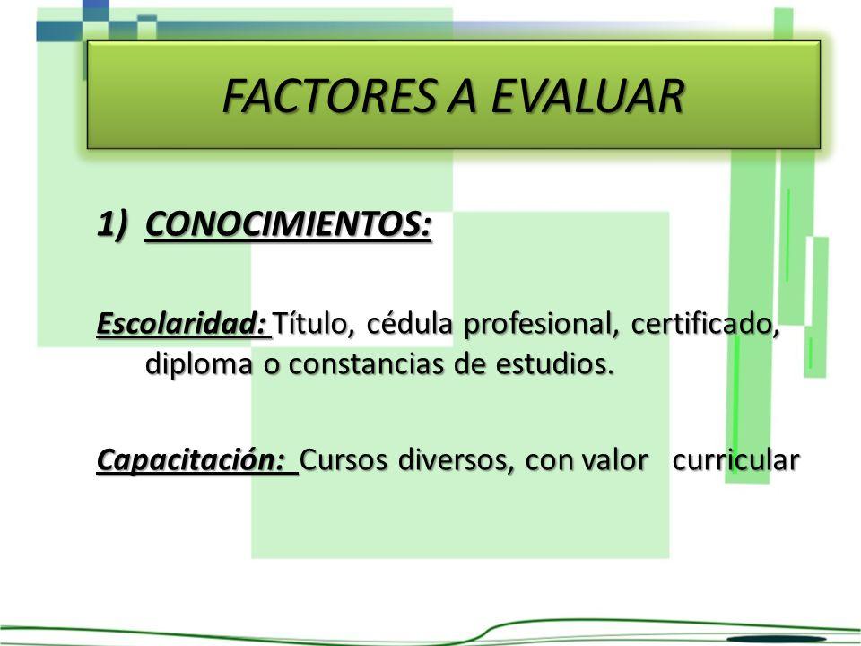 FACTORES A EVALUAR 1)CONOCIMIENTOS: Escolaridad: Título, cédula profesional, certificado, diploma o constancias de estudios. Capacitación: Cursos dive
