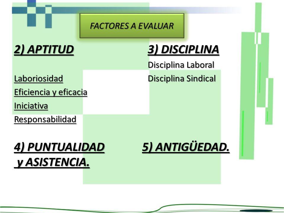 2) APTITUD Laboriosidad Eficiencia y eficacia IniciativaResponsabilidad 3) DISCIPLINA Disciplina Laboral Disciplina Sindical FACTORES A EVALUAR 4) PUN