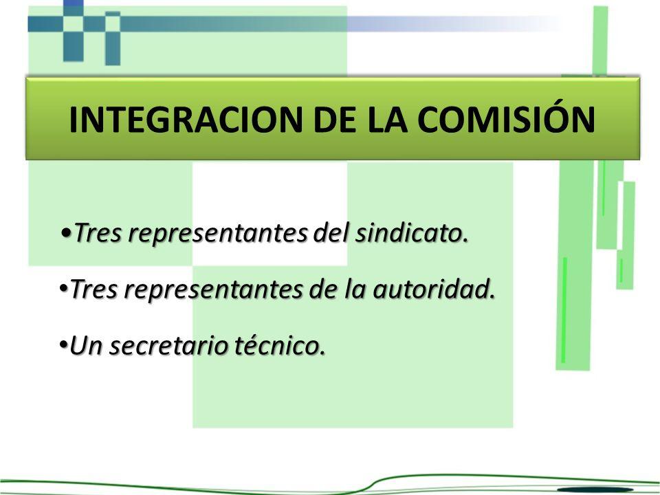 INTEGRACION DE LA COMISIÓN Tres representantes del sindicato. Tres representantes de la autoridad. Tres representantes de la autoridad. Un secretario