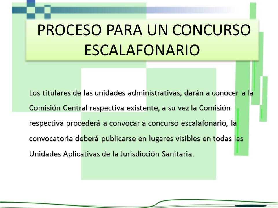 PROCESO PARA UN CONCURSO ESCALAFONARIO Los titulares de las unidades administrativas, darán a conocer a la Comisión Central respectiva existente, a su