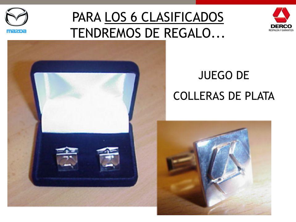 PARA LOS 6 CLASIFICADOS TENDREMOS DE REGALO... JUEGO DE COLLERAS DE PLATA JUEGO DE COLLERAS DE PLATA