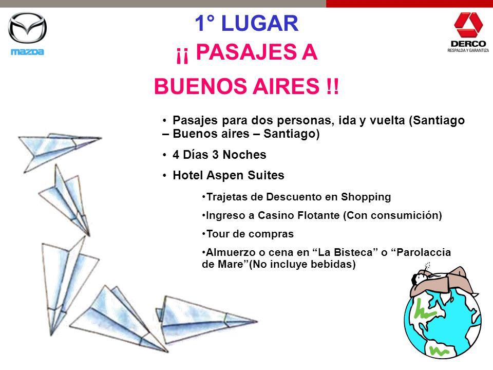 1° LUGAR ¡¡ PASAJES A BUENOS AIRES !! Pasajes para dos personas, ida y vuelta (Santiago – Buenos aires – Santiago) 4 Días 3 Noches Hotel Aspen Suites