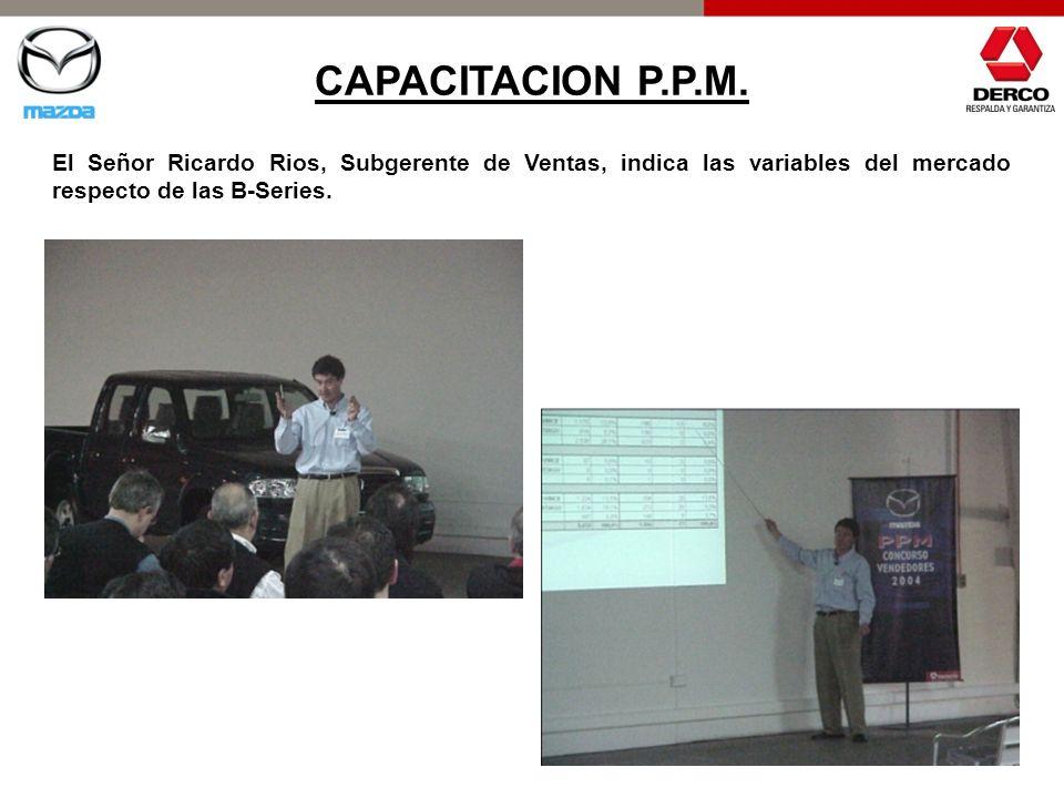 CAPACITACION P.P.M. El Señor Ricardo Rios, Subgerente de Ventas, indica las variables del mercado respecto de las B-Series.