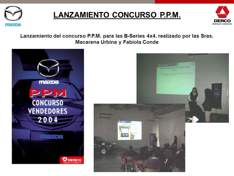 LANZAMIENTO CONCURSO P.P.M. Lanzamiento del concurso P.P.M. para las B-Series 4x4. realizado por las Sras. Macarena Urbina y Fabiola Conde